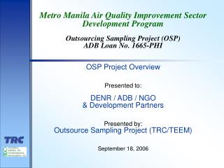 Metro Manila Air Quality Improvement Sector  Development Program