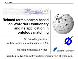 Related terms search based on WordNet / Wiktionary and its application in ontology matching