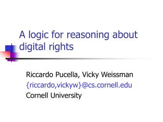 A logic for reasoning about digital rights