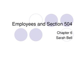 Employees and Section 504