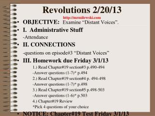 Revolutions 2/20/13 mrmilewski