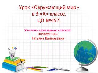 Урок «Окружающий мир»  в 3 «А» классе,  ЦО №497.