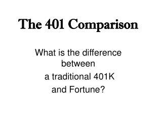 The 401 Comparison