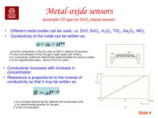 Metal-oxide  sensors (example CO gas for SnO 2  based sensor)