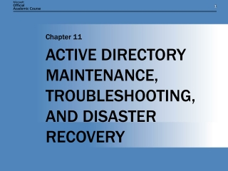 Active Directory Maintenance And Data Recovery