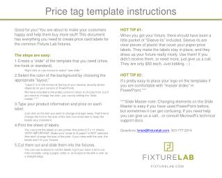 Price tag template instructions