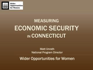 Measuring Economic Security in  Connecticut