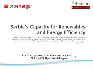 Serbia's Capacity for  Renewables  and Energy Efficiency