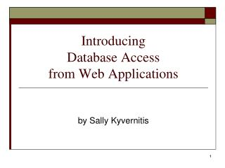 Introducing Database Access from Web Applications