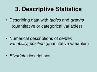 3. Descriptive Statistics