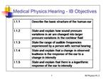 Medical Physics:Hearing - IB Objectives