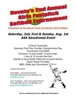 Novato's 2nd Annual Girls Fastpitch  Softball Tournament