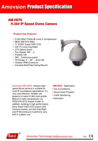 AM-H67 6  H.264 IP Speed Dome Camera