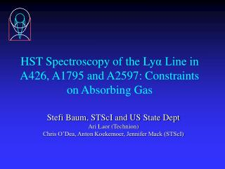 HST Spectroscopy of the Ly α Line in A426,  A1795 and A2597: Constraints on Absorbing Gas
