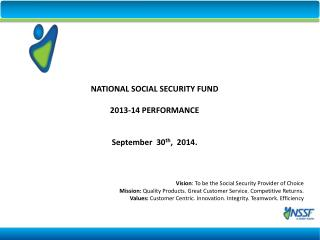 Vision : To be the Social Security Provider of Choice