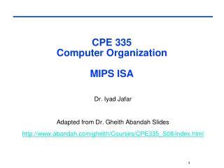 CPE 335  Computer Organization  MIPS ISA