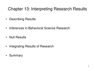 Chapter 13: Interpreting Research Results