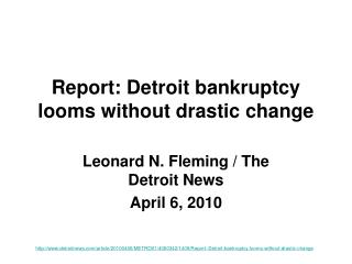 Report: Detroit bankruptcy looms without drastic change
