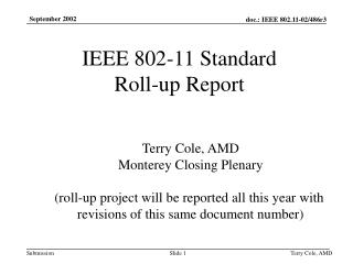 IEEE 802-11 Standard Roll-up Report