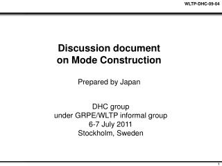 Discussion document on Mode Construction