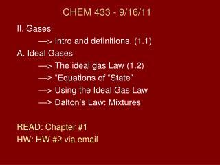 CHEM 433 - 9/16/11