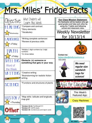 Weekly Newsletter for  10/13/14