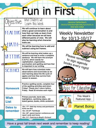 Weekly Newsletter for 10/13-10/17