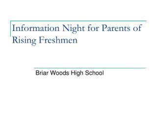 Information Night for Parents of Rising Freshmen