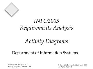 INFO2005 Requirements Analysis Activity Diagrams