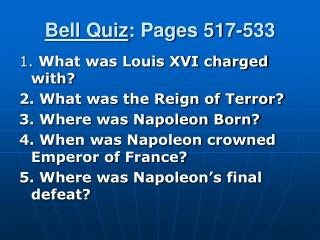 Bell Quiz : Pages 517-533