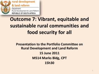Outcome 7: Vibrant, equitable and sustainable rural communities and food security for all