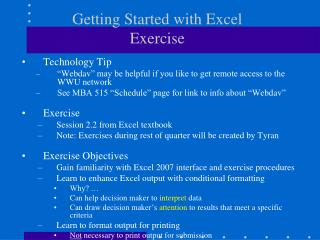 Getting Started with Excel  Exercise
