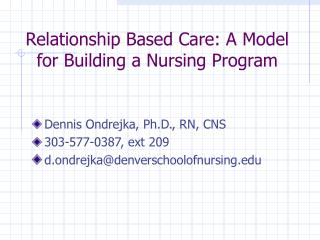 Relationship Based Care: A Model for Building a Nursing Program