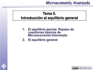 El equilibrio parcial.  Repaso de cuestiones básicas de Microeconomía Intermedia