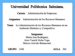 Universidad Politécnica  Salesiana . Carrera:     Administración de Empresas.