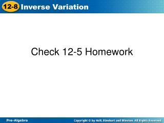 Check 12-5 Homework