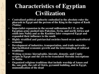 Characteristics of Egyptian Civilization