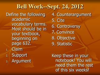 Bell Work--Sept. 24, 2012
