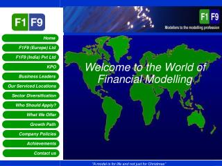 Welcome to the World of Financial Modelling
