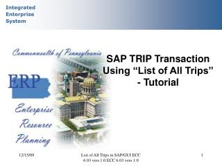 "SAP TRIP Transaction Using ""List of All Trips"" - Tutorial"