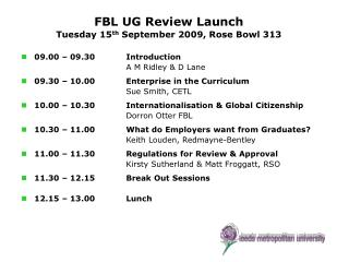 FBL UG Review Launch Tuesday 15 th  September 2009, Rose Bowl 313