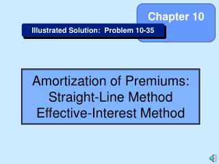 Amortization of Premiums: Straight-Line Method Effective-Interest Method