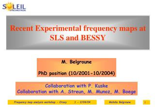 Recent Experimental frequency maps at SLS and BESSY