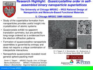 Research Highlight:   Quasicrystalline  order in self-assembled binary  nanoparticle superlattices