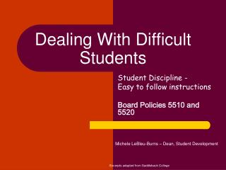 Dealing With Difficult Students