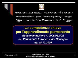 MINISTERO DELL'ISTRUZIONE, UNIVERSITÀ E RICERCA