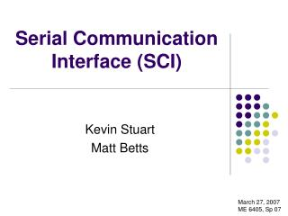 Serial Communication Interface SCI