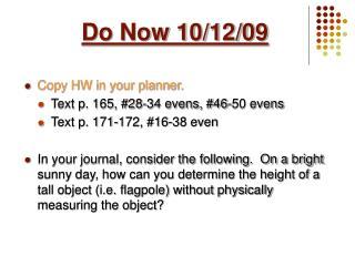 Do Now 10/12/09