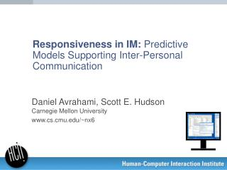 Responsiveness in IM:  Predictive Models Supporting Inter-Personal Communication