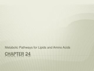 Metabolic Pathways for Lipids and Amino Acids